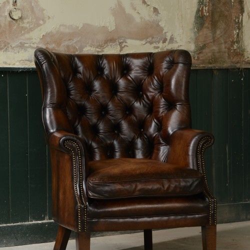 Bradley Chair - Displayed in Hand Antiqued Bangkok hide