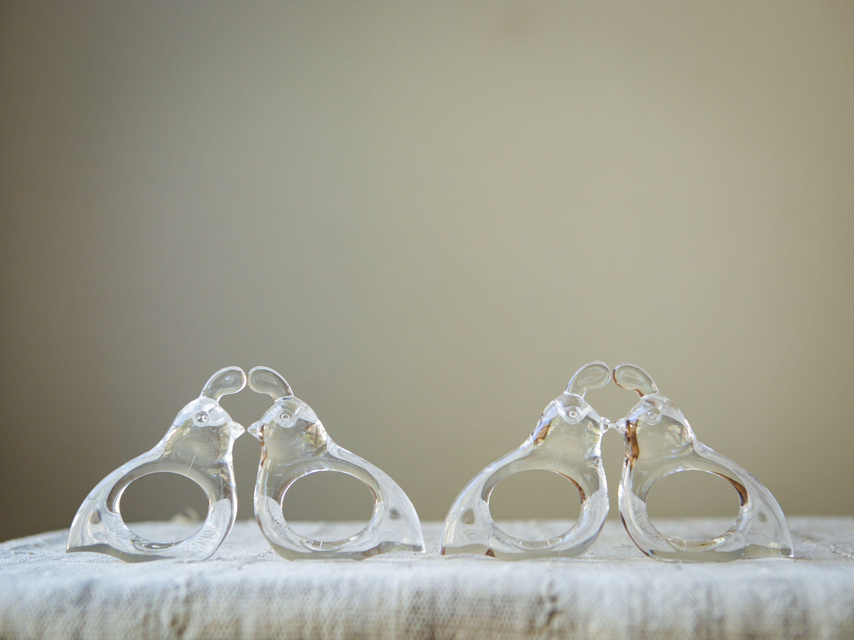 Vintage Lucite Quail Napkin Rings, Set of Four #napkinrings