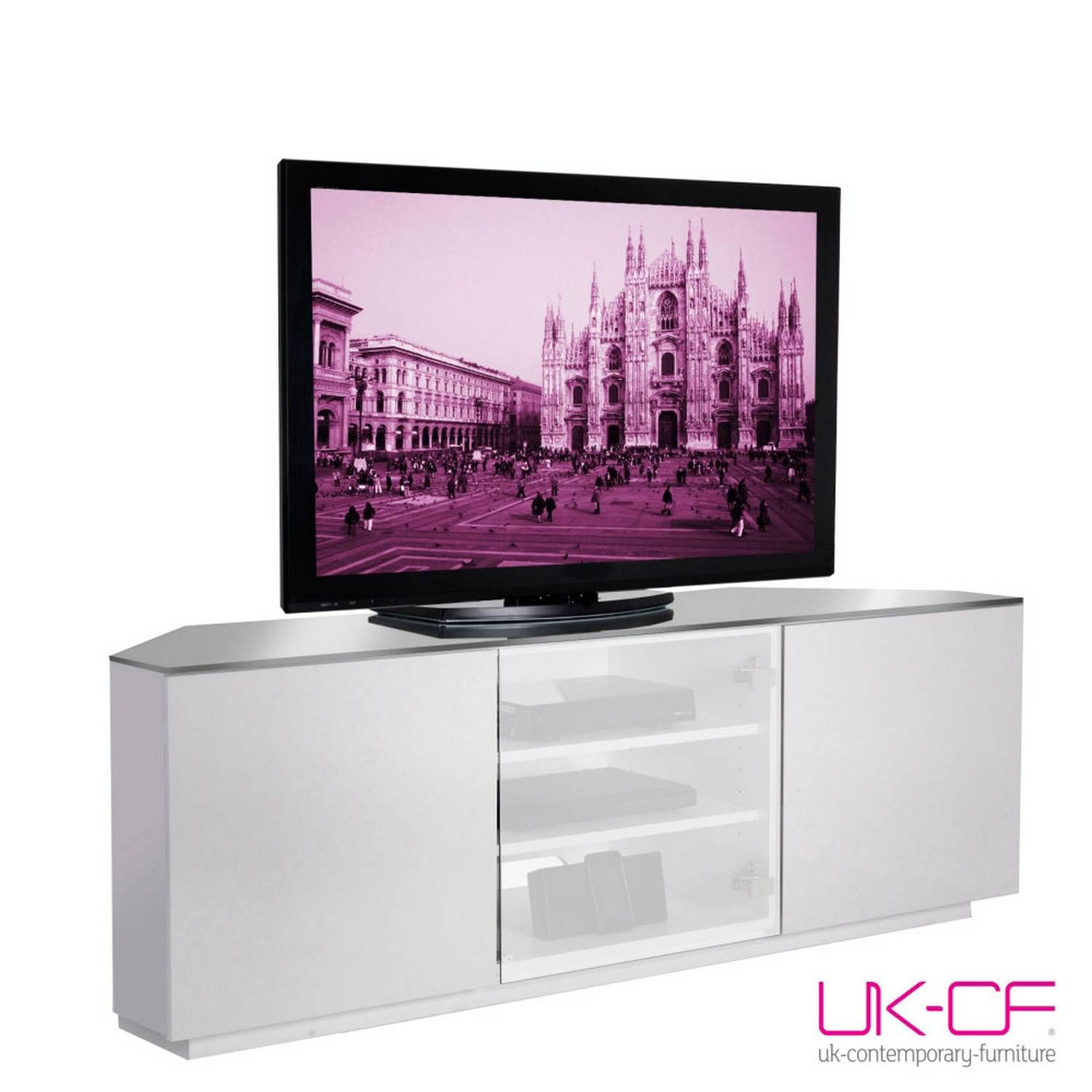 Ukcf Milan White Gloss Corner Tv Stand With White Glass