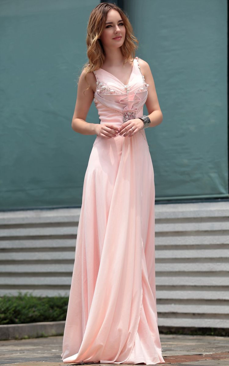 Fashion Sweet Pink V-neck Long Beads Banquest Cocktail and Party ...