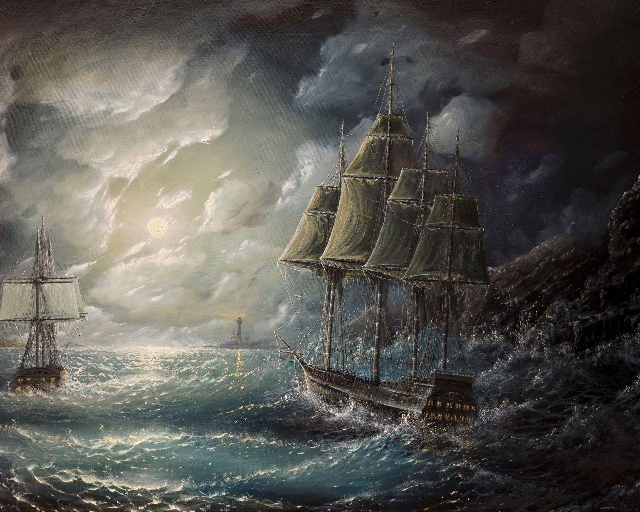 море, парус, рисунок, арт, шторм | Корабли и океаны в 2019 ...