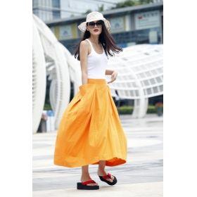 Lagenlook Maxi Skirt Big Pockets Big Sweep Long Skirt in Golden Summer Linen Skirt - NC144 Lagenlook Maxi Skirt Big Pockets Big Sweep Long Skirt in Golden Summer Linen Skirt - NC144 [NC144] - $64.99 : Sara Steven