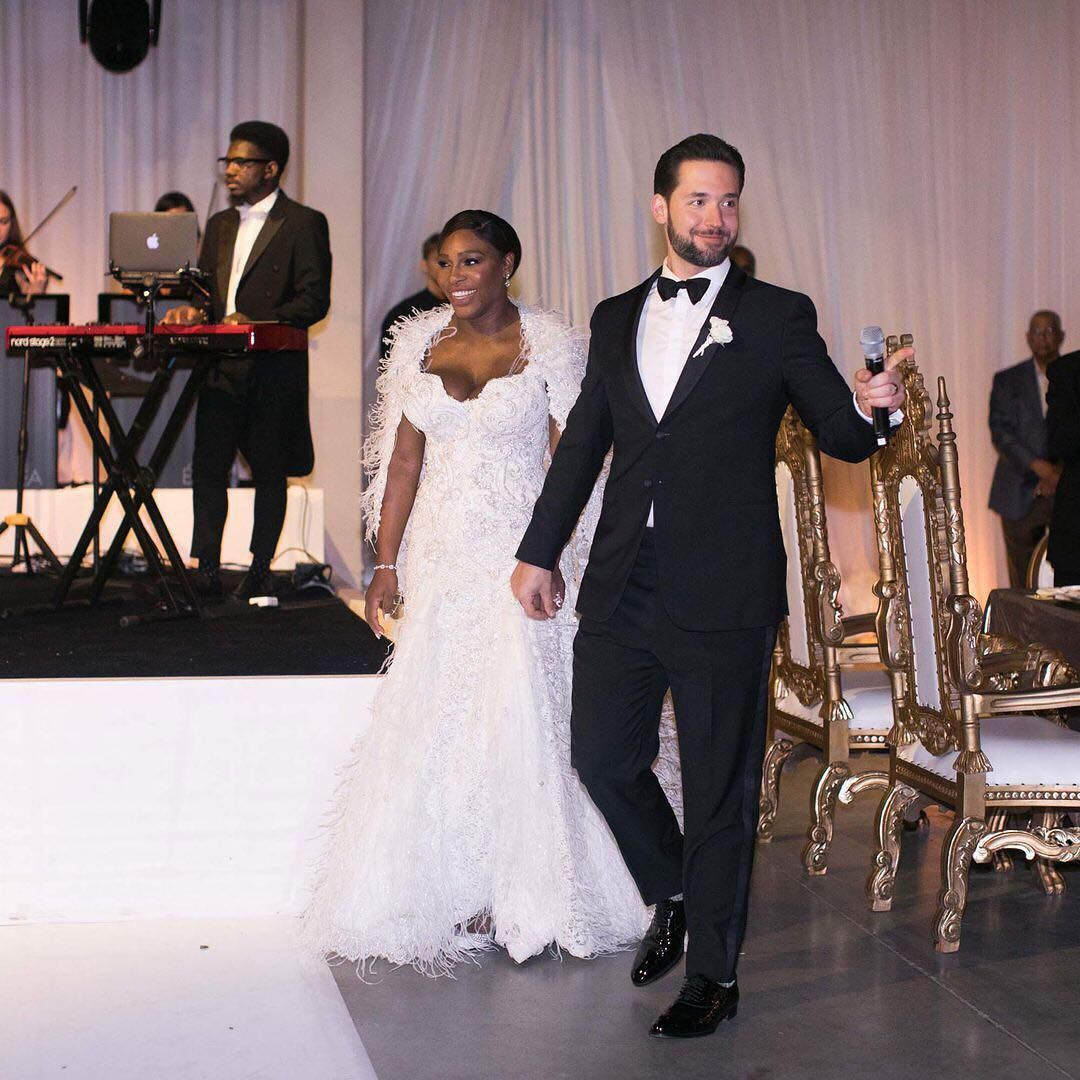 Serena Williams And Alexis Ohanian The Tennis Champ And Reddit Ceo S Beauty And The Beast Themed F Serena Williams Wedding Celebrity Weddings Serena Williams