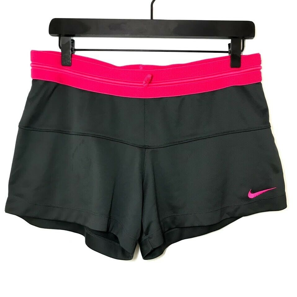 Nike dri fit womens shorts gray pink drawstring size large
