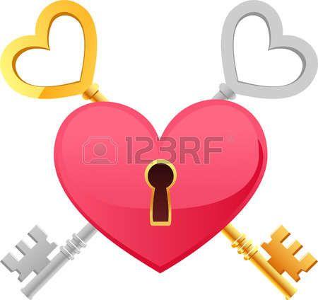 Skeleton Keys corazón de la plata del oro forma con ruta de acceso clave. La llave de mi corazón ilustración vectorial de dibujos animados. Foto de archivo - 33828110