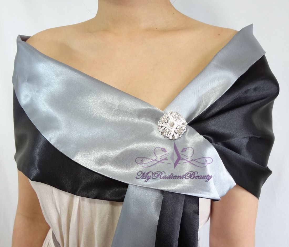 Satin Bridal Stole, Black/Grey Silk Satin Stole, Silk Prom Scarf, Faux Fur Wrap, Satin Wrap, Si