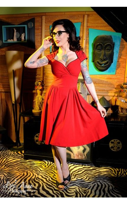 Pinup Couture - Luscious Dress in Red with Pinup Girl | Pinup Girl Clothing