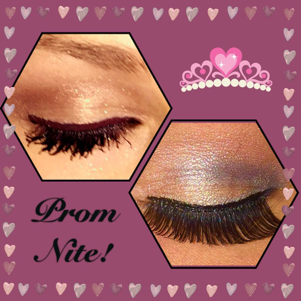 Prom makeup, Browns / Apricots / Golds (left) & Navy / Pinks / Silvers (right)