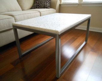 Free Shipping White Concrete Coffee Table With Clear Gl Aggregate