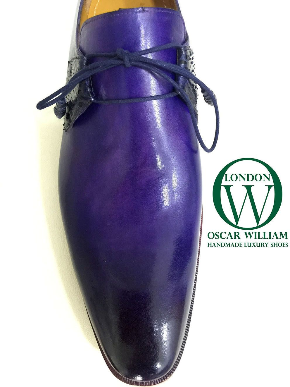 Oscar William Men English Handcrafted Luxury Shoes, With Leather Wrapped Lace