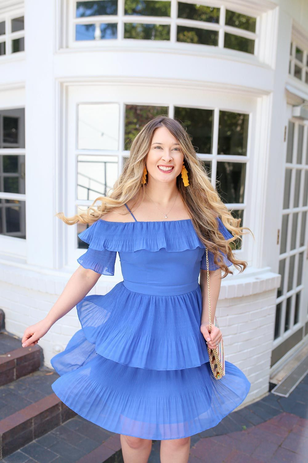 Wedding guest fashion for spring trendy blue dresses pleated