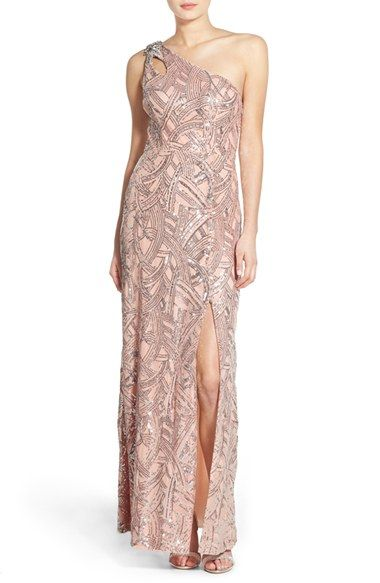 Secret Charm  Cassidy  Sequin One-Shoulder Gown available at  Nordstrom 306d0ce4ecf1