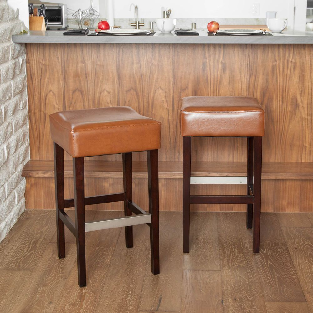 Set Of 2 Dining Room Hazelnut Leather Backless Bar Stools