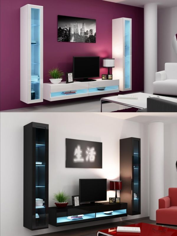 Details About High Gloss Living Room Set With Led Lights Tv