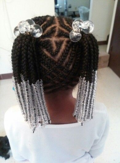 cornrow ponytail style with clear