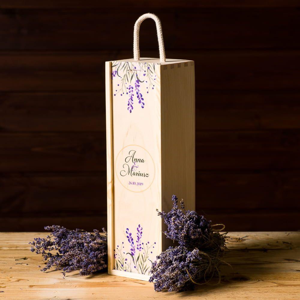 Skrzynka Na Wino Z Nadrukiem Lawenda Paper Shopping Bag Coff