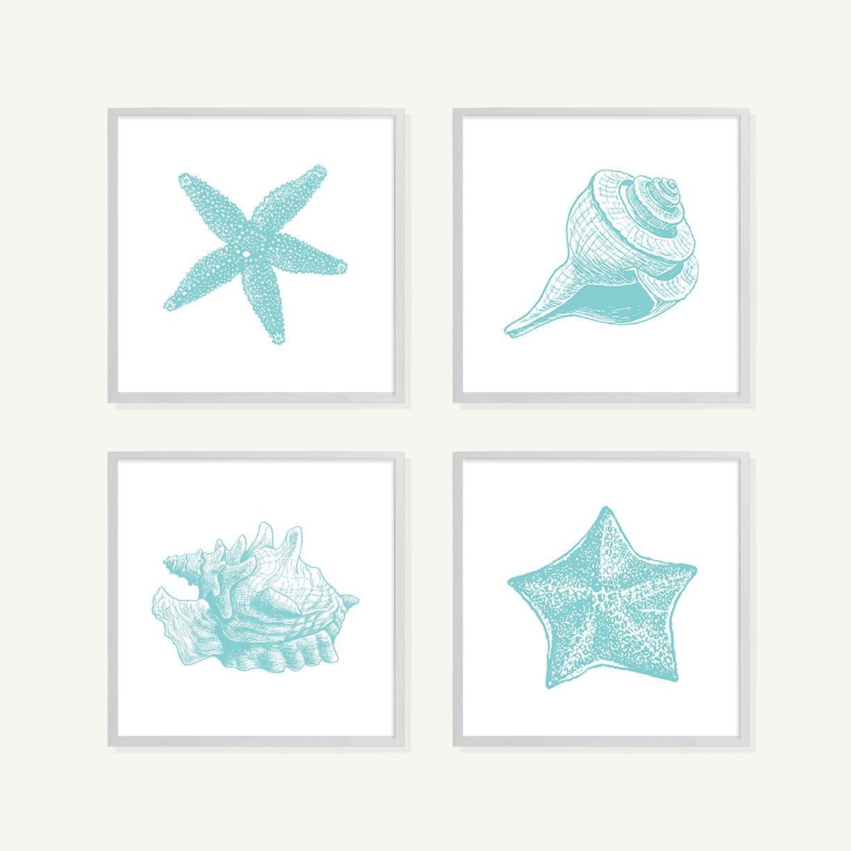 Turquoise Seaside Shells Art Print Set In Blue   Modern Home Decor Wall Art    Shabby