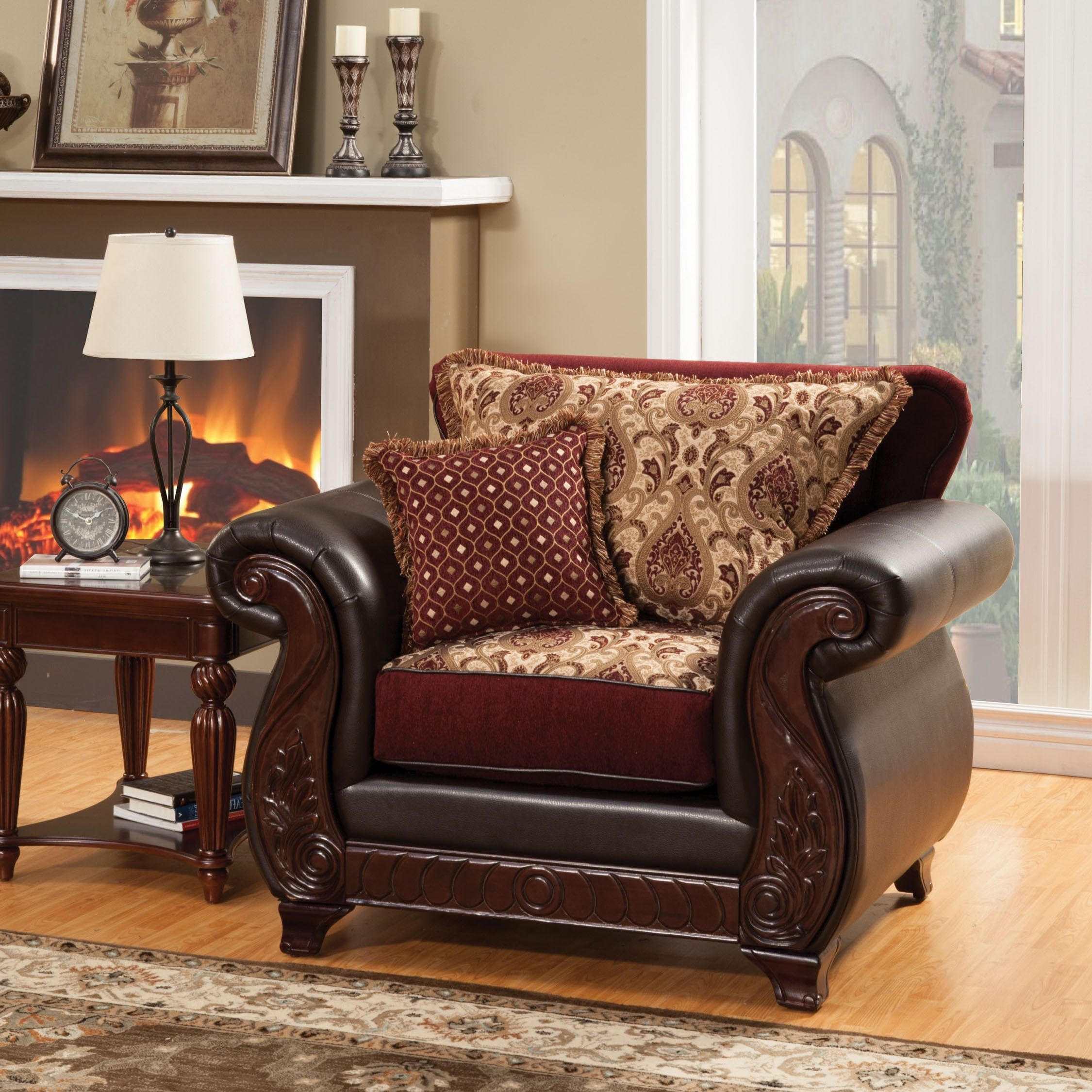 Small Living Room Ideas For More Seating And Style: Furniture Of America Corz Traditional Faux Leather Padded