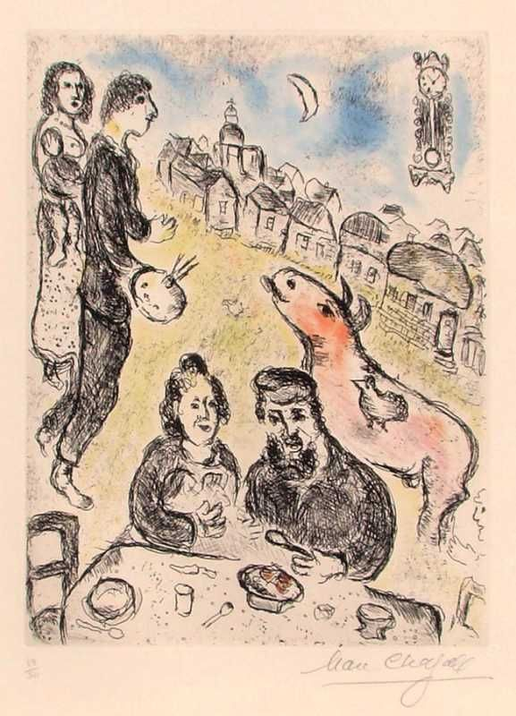"""Marc Chagall   """"The Meal""""   Graphic / Etching   21"""" x 15""""   1981   Price On Request #HOHMANN"""