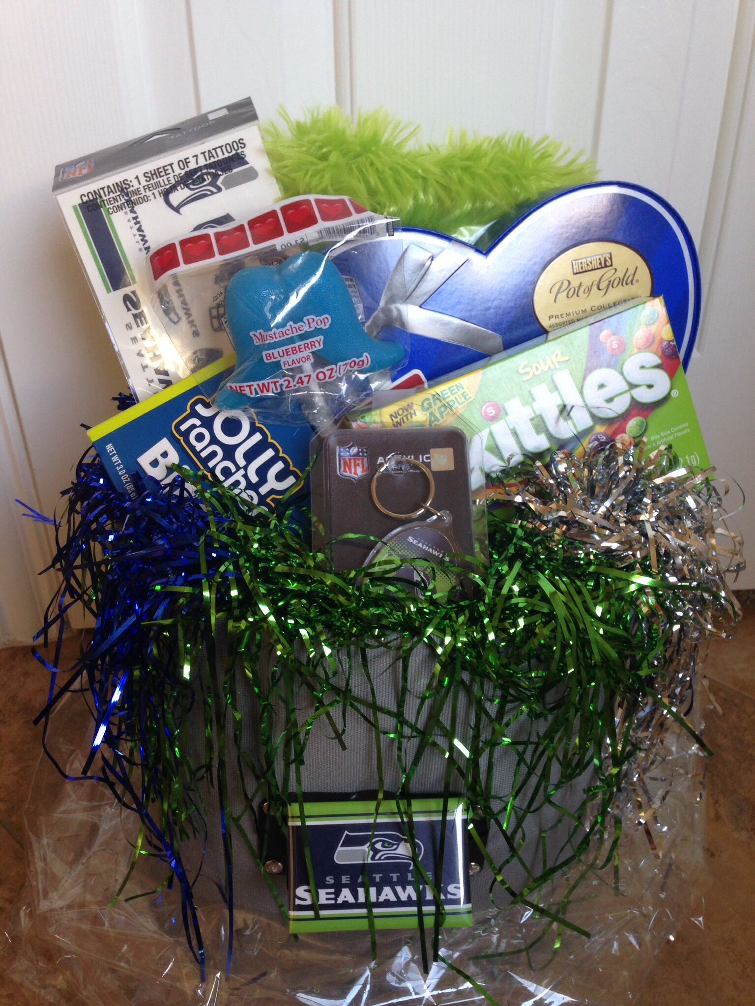 Seattle Seahawks themed Valentine's arrangement. | Gift baskets ...