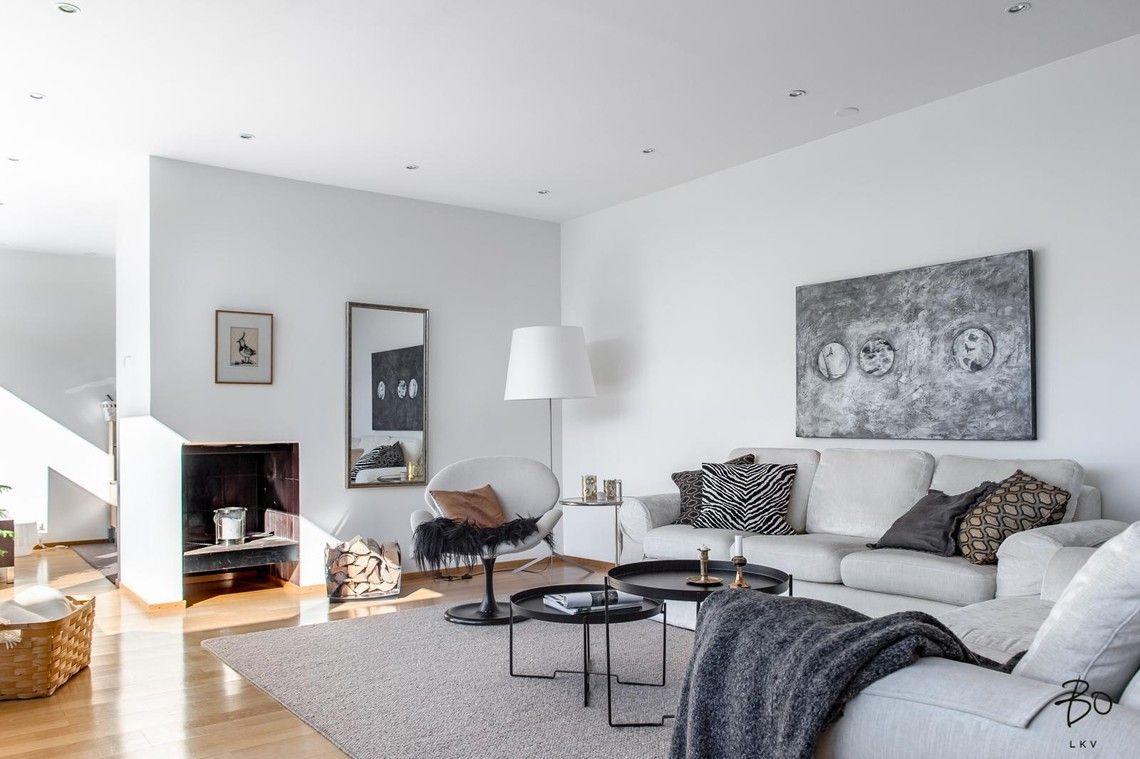 Moderni design ja kodikkuus yhdistyvät olohuoneessa