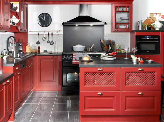 Idées Pour Une Cuisine Ambiance Bistrot Ambiance Elle - Meuble cuisine rouge pour idees de deco de cuisine
