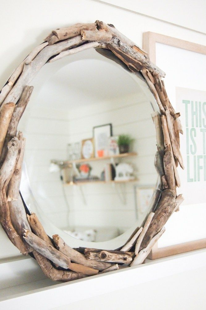 diy driftwood mirror rethinking a diy disaster dream home foyer pinterest