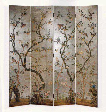 Home Living Style Accent Furniture - Oriental 4-Panel Hand Painted Silverleaf Screen