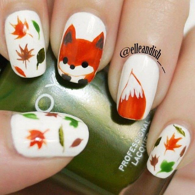 fox nail art by elleandish__