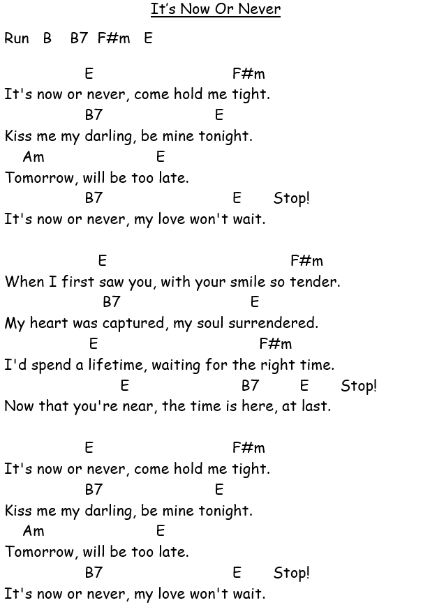 Its Now Or Never Guitar Songs For Beginners Guitar Chords And Lyrics Song Lyrics And Chords