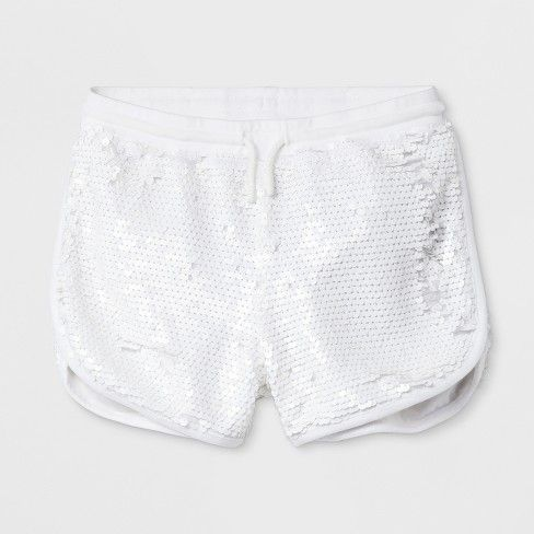 c16e8fec6ff8ef Girls' All Over Sequin Dolphin Shorts - art class™ White | girly ...
