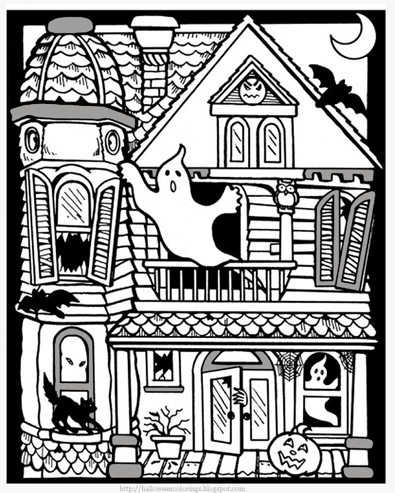 Halloween pictures to color hautned houses witches coloring