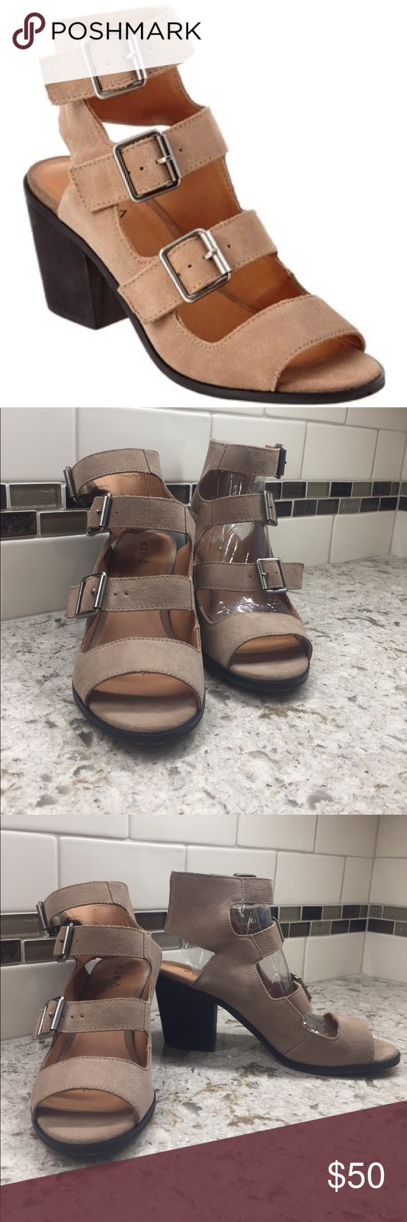 """Kelsi Dagger """"Kristie"""" suede buckle sandal New in box Taupe colored suede 3 buckle sandal. 3 inch block heel on contrasting brown  color Kelsi Dagger Shoes Sandals"""