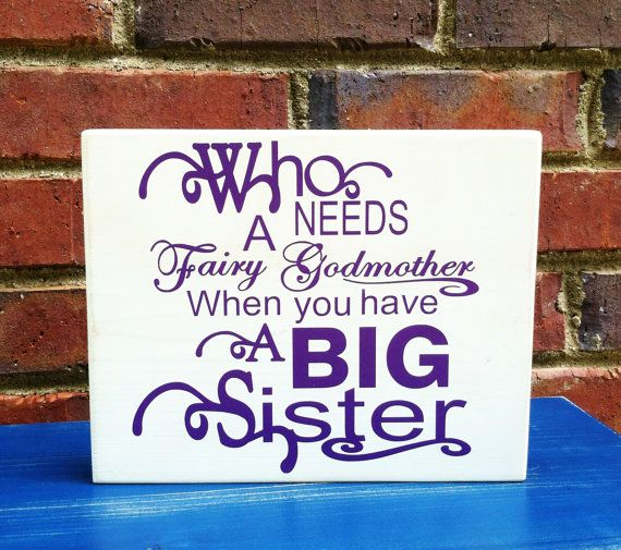 Big Sister To Brother Quotes: Big Sister Wood Sign Nursery Home Decor By