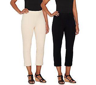 Women with Control Regular Set of 2 Straight Leg Knit Crop Pants