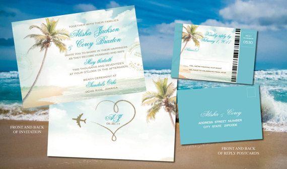 Invitations de mariage cérémonie dans Turquouise, or de plage | Sable de mariage destination soleil Mexique Cabo Punta Cana Jamaïque | Réponse dembarquement