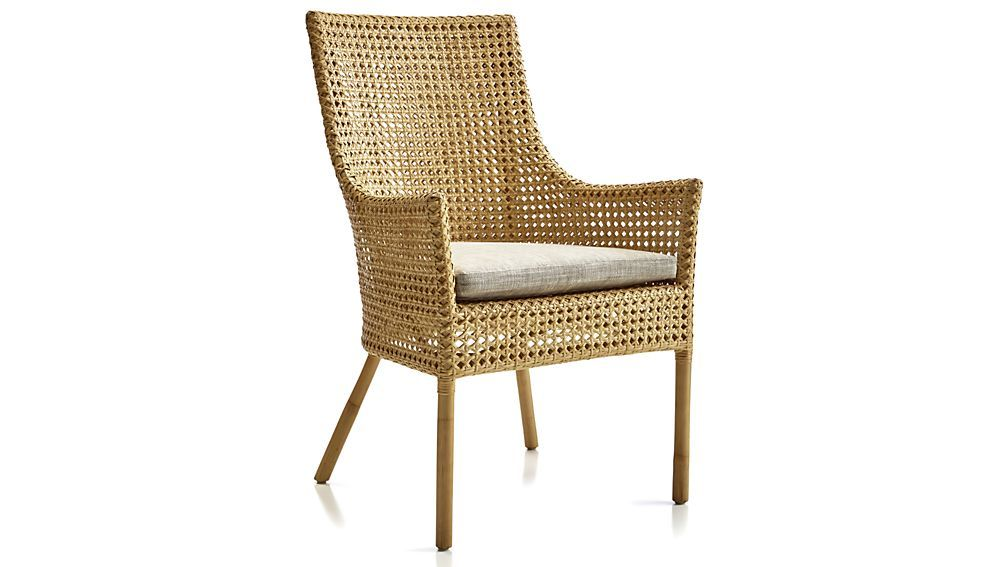 Shop Maluku Dining Arm Chair And Cushion Using High Quality Naturally Sustainable Rattan Indonesians Artisans Cr Chair Dining Arm Chair Dining Table Chairs