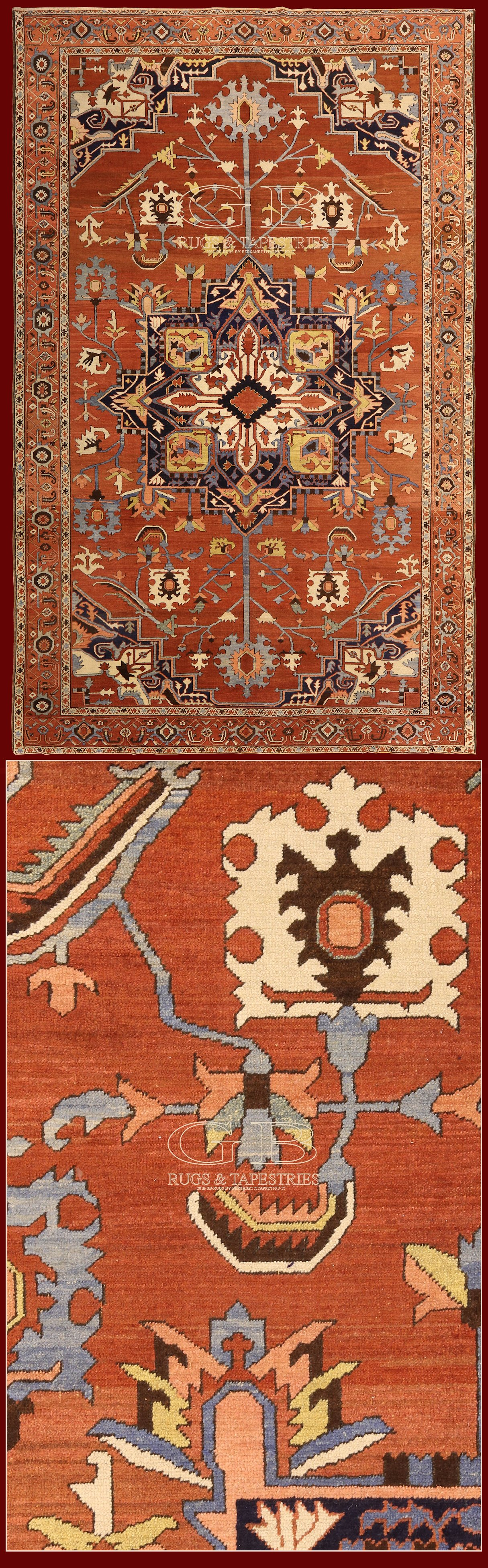 Antico tappeto persiano Heriz Serapi. Serapi è il nome commerciale dato ai tappeti di Hertiz annodati tra il 1800 ed il 1910. Venivano annodati dagli abita