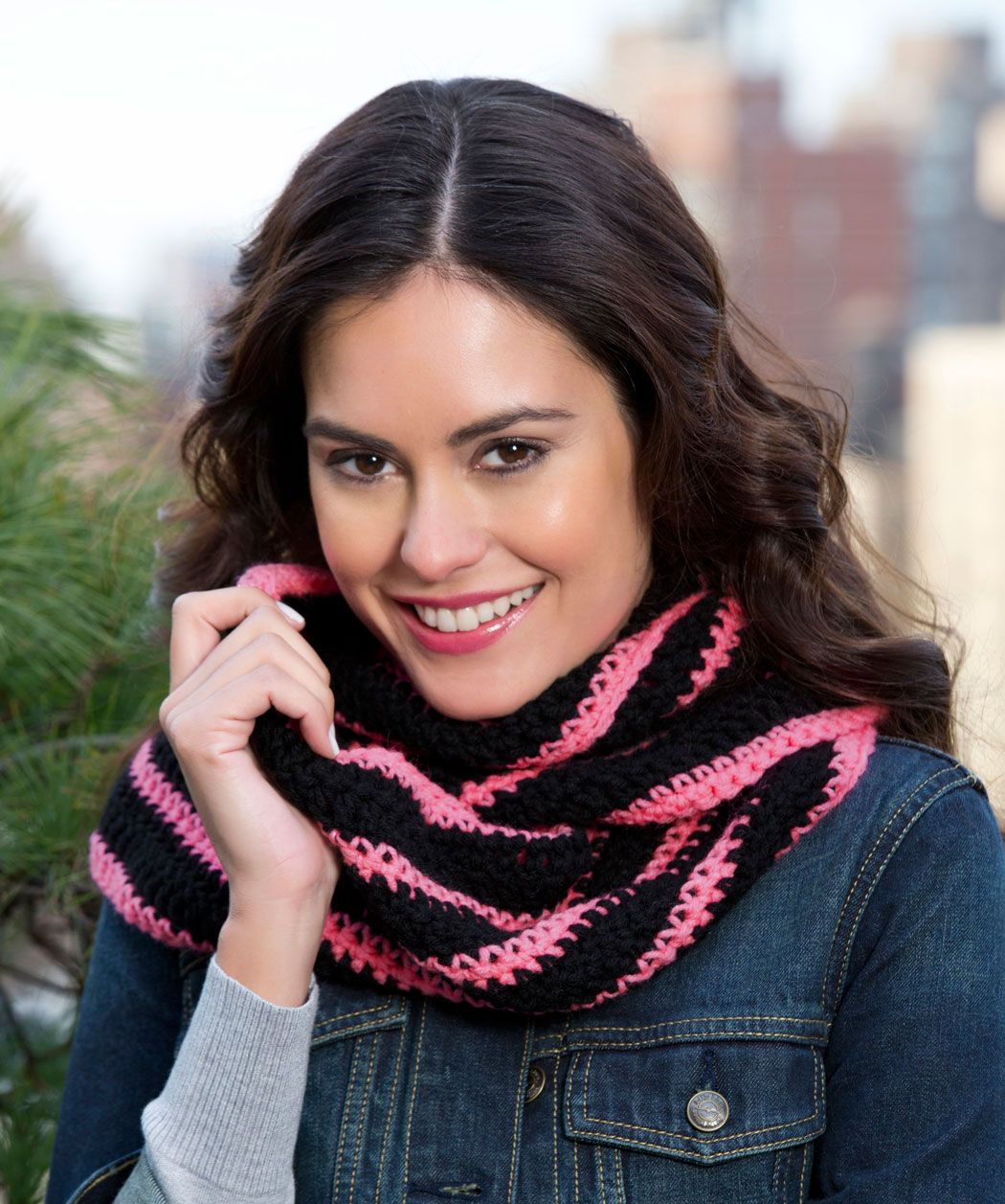 Bright Stripes Cowl free pattern from Red Heart using Red Heart Soft ...