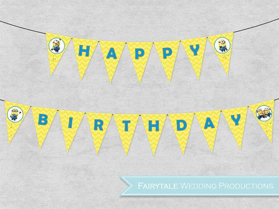 Printable Birthday Banner ~ Despicable me minions happy birthday banner bunting pennant party