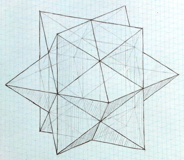 Wahtah 3D, geometric, polyhedron, Escheru0027s Solid, 3D drawing grid - triangular graph paper