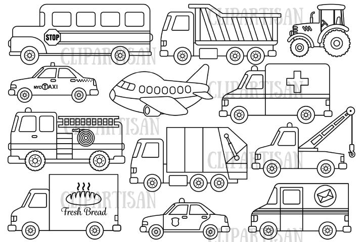 Transport Clipart Vehicles Transportation Digital Stamp 442814 Illustrations Design Bundles In 2021 Digital Stamps Clip Art Transportation