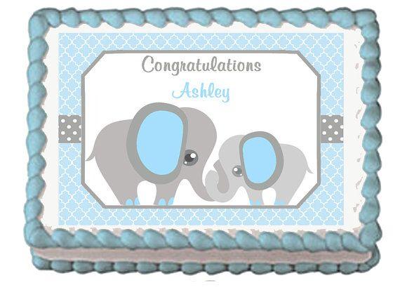 Blue Mod Elephants Edible Birthday Baby by mycaketopperdesigns