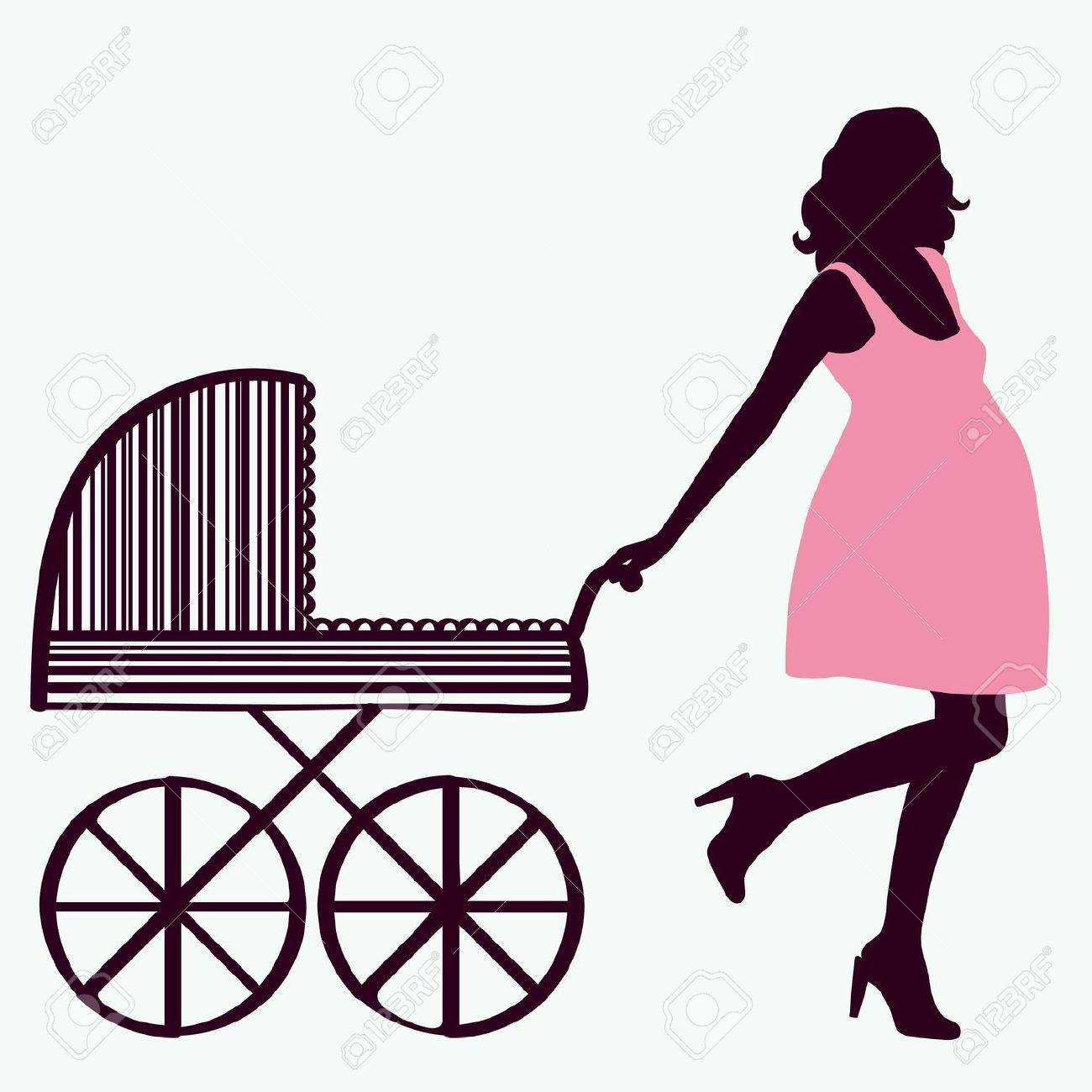 9429908-Woman-silhouette-with-baby-carriage-Stock-Vector ...