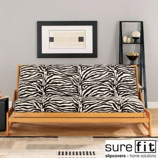 Medium image of sure fit velvet zebra black and white futon cover by sure fit