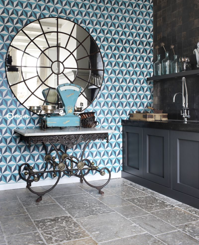Chic Turquoise And White Wallpaper With A Modern Graphic Triangle Design