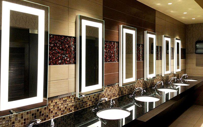 Motion Touchless Sensor Faucets Retrooms Restroom Design Led Mirror Bathroom Bathroom Mirror
