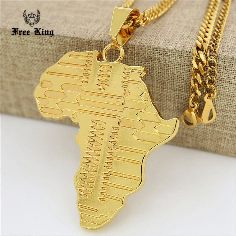 Mens Iced Out Gold Africa Map Pendant 275inch Cuban Curb Chain