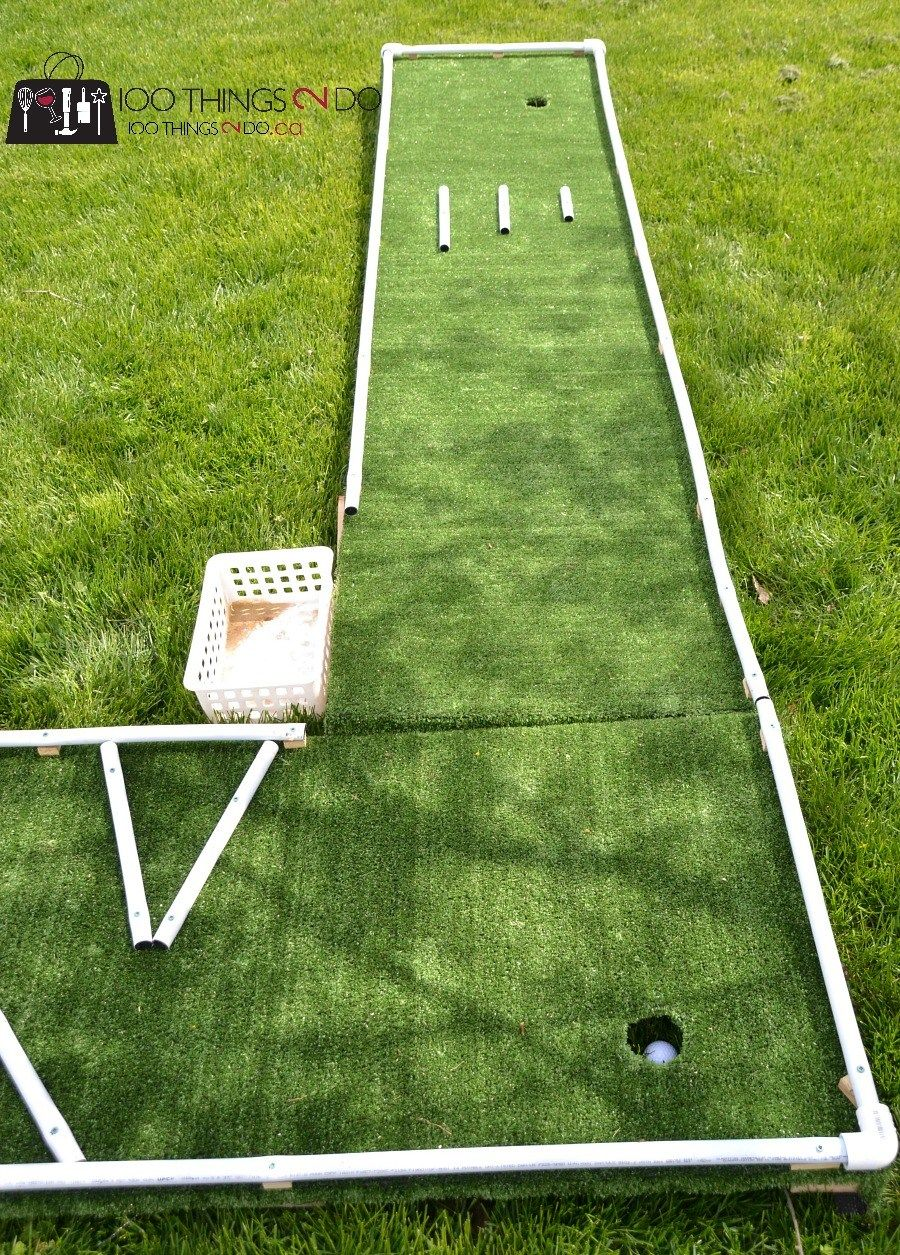 Diy Mini Golf As Designed By 6 And 9 Year Olds Mini Golf Backyard Putting Green Miniature Golf Course Backyard diy mini golf