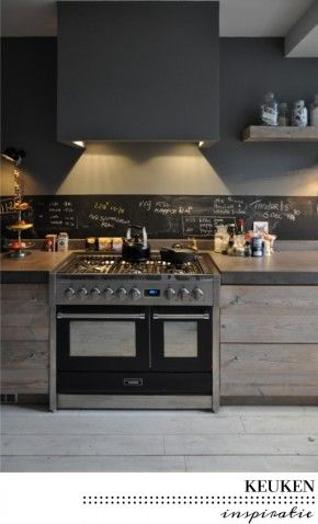 Gray wall with chalkboard stripe along tiles on big wall | Kitchen ...